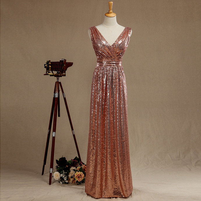 Rose Gold Sequined V Neck Evening Gown , Prom Dress by lass on Zibbet