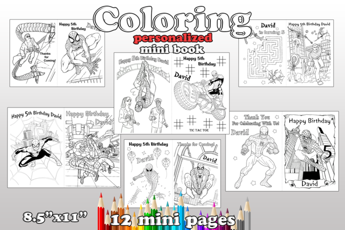Spiderman Birthday Party favor, Spiderman coloring pages, Spiderman Birthday