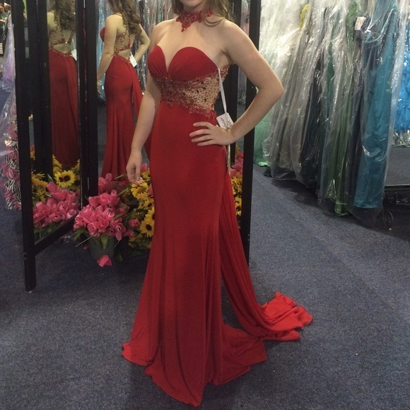Beaded Red Illusion High Neck Fitted Jersey Prom Dress, Evening Gown Cut Out