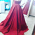 Burgundy Illusion Sweetheart Ball Gown Prom Dress With Floral Embroidery