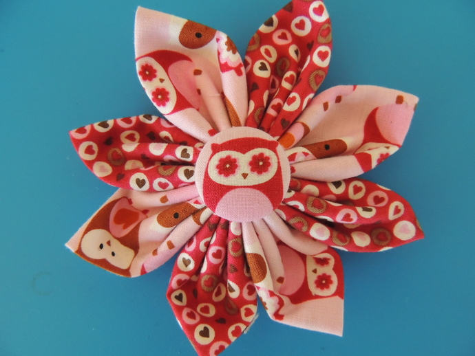 Owls and Strawberries Dog Collar Flower Set