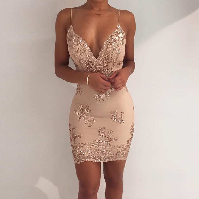 b050c47950f4 Gold Sequins Spaghetti Strap Open Back Bodycon Dress