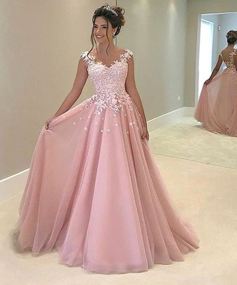 Pink Illusion Prom Gown, Cap Sleeve Prom Dress, A Line Formal Gown With Lace