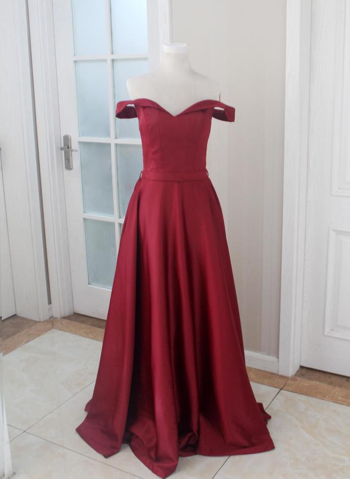 Burgundy Prom Dress, Off The Shoulder Formal Gown ,Party Dress Long, Evening