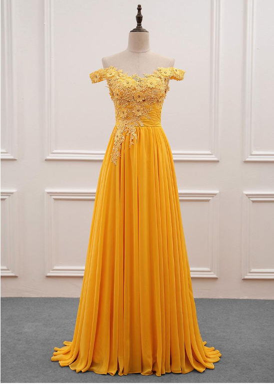 149b68468cf Yellow Off Shoulder Pretty Chiffon Party by BeMyBridesmaid on Zibbet
