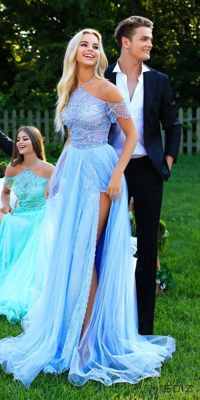 Unique Prom Dresses,Halter Prom Dress,Sky Blue Prom Dresses,Long Prom Dress with