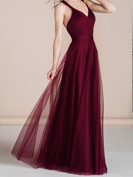 Tulle V-neck Neckline Floor-length A-line Bridesmaid Dresses by prom dresses