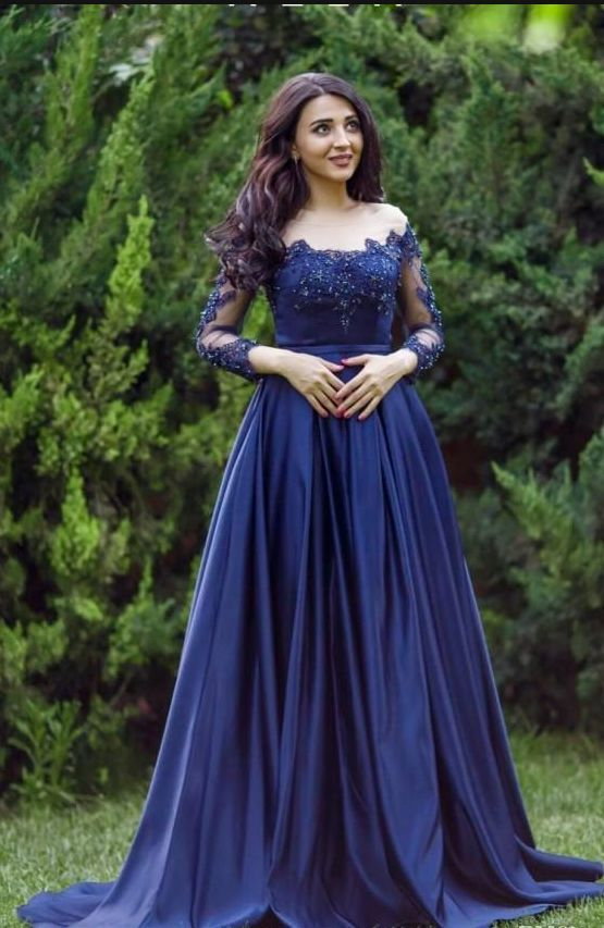 Sexy Plus Size Arabic Lace Formal Prom Dress Long Sleeves Blue Prom Dresses Evening Gowns By Prom Dresses