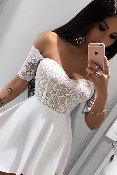 Fashion A-Line Off-The-Shoulder Short Sleeves White Short Homecoming Dress With