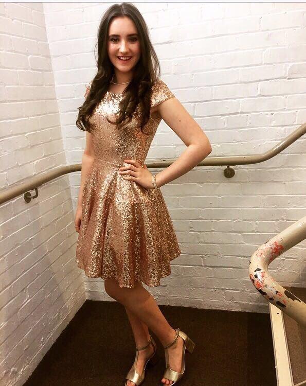 Gold Sequin Bateau Cocktail Dress, Homecoming Dress,Short Dress Formal Sweet16
