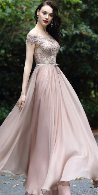 Dressit Blush Off Shoulder Lace Prom Dress