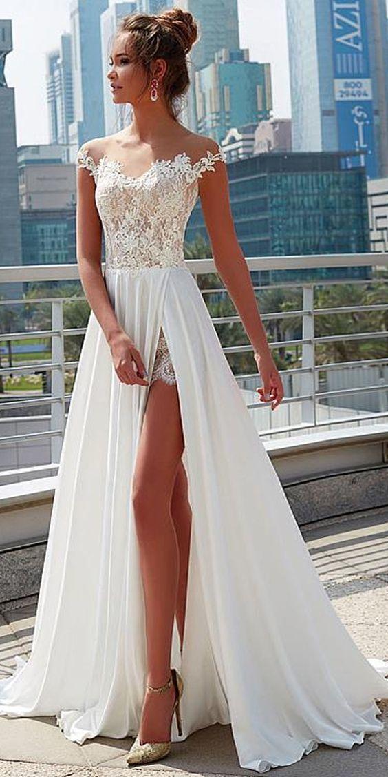 Charming Lace & Satin Chiffon Sheer Jewel Neckline A-Line Wedding Dress