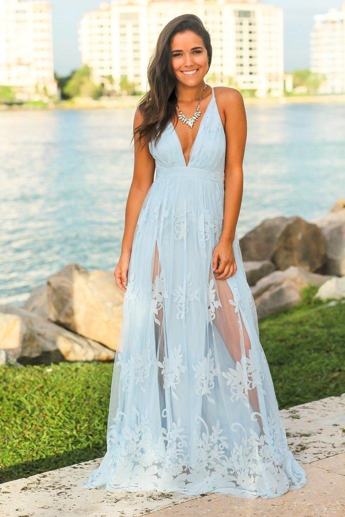 Floral Lace Long Prom Dresses