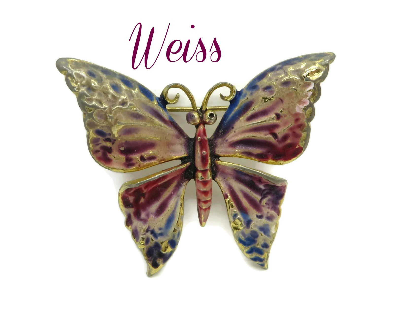 Weiss Butterfly Brooch   Vintage Enameled By LeoraJewelry On Zibbet