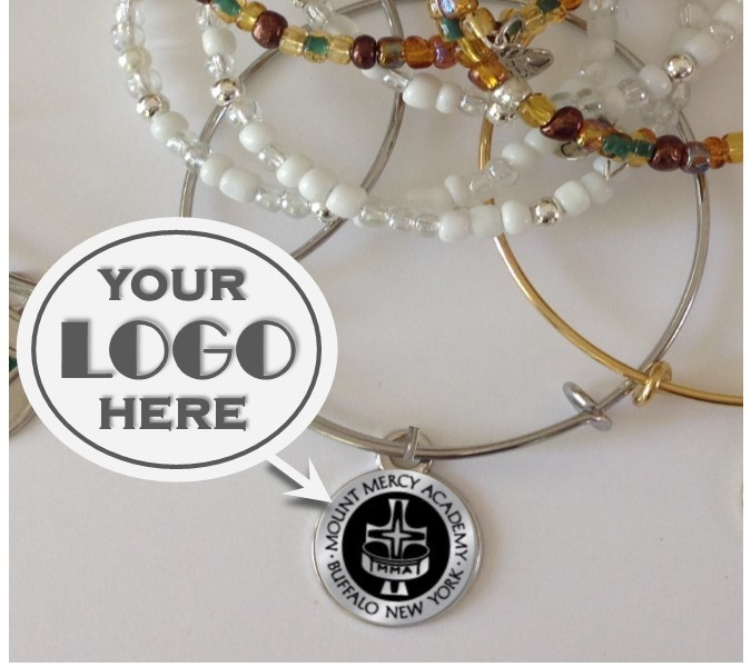 Custom Engraved Charm Bracelet - Your Logo Here - Stainless Engraved Charm with