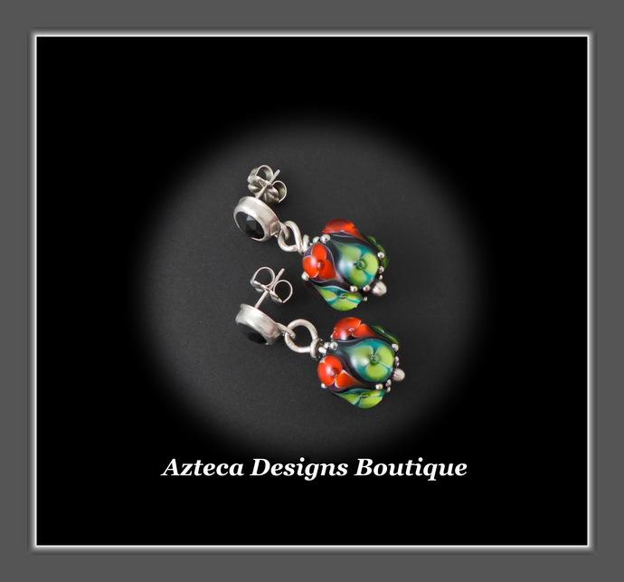 Květ~ Lampwork Black Onyx Hand Fabricated Sterling Silver Post Dangle Earrings