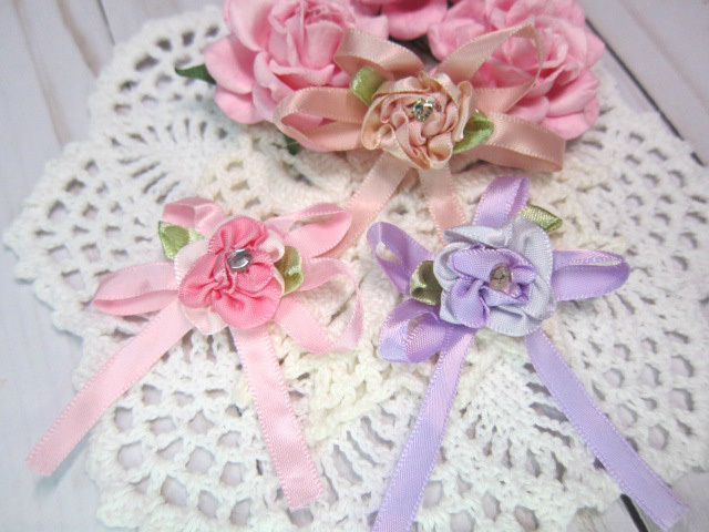 """Shabby Chic Layered Satin Rose Flower Bow - 2.5"""" Pink, Peach, Lavender"""