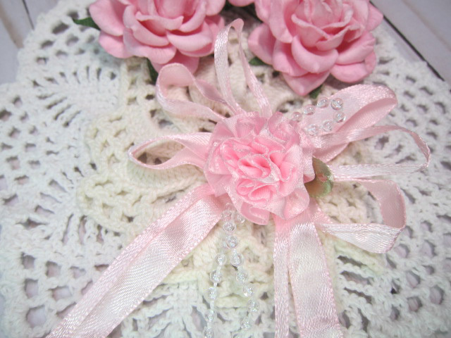 "Shabby Chic Layered Beaded Satin Rose Flower Bow - 3"" Pink, Blue, Lavender,"