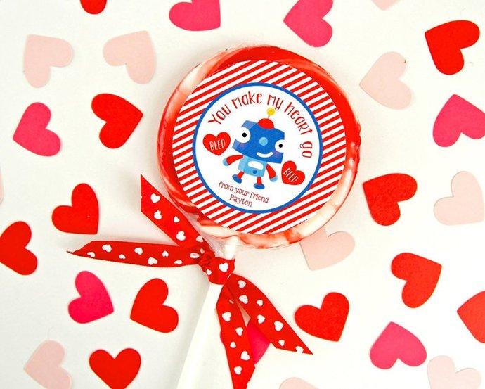 Robot Valentines Tags, Valentine Printable, Kids Valentines, Personalized