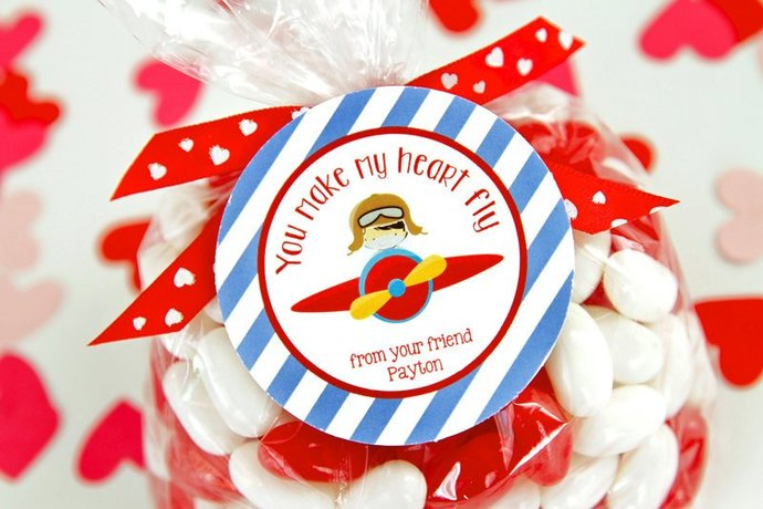 Kids Valentines Printable, Valentine's Day Gift Tags, Personalized Pilot
