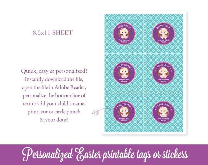 Easter Favor Tags, Easter Tags, Bunny Easter Bag Tags, Easter Printable, Kids