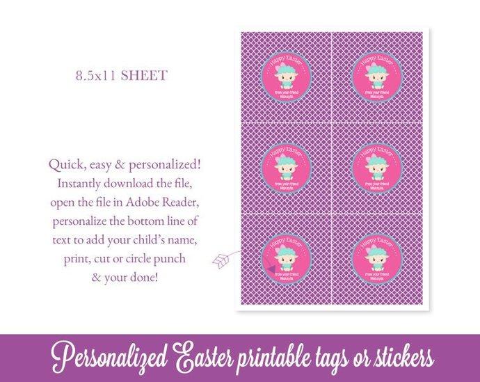Easter Tags, Lamb Easter Bag Tags, Easter Favor Tags, Easter Printable, Kids