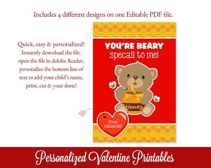 Teddy Bear Valentines Cards, Boy Valentines, Editable Valentines Cards,