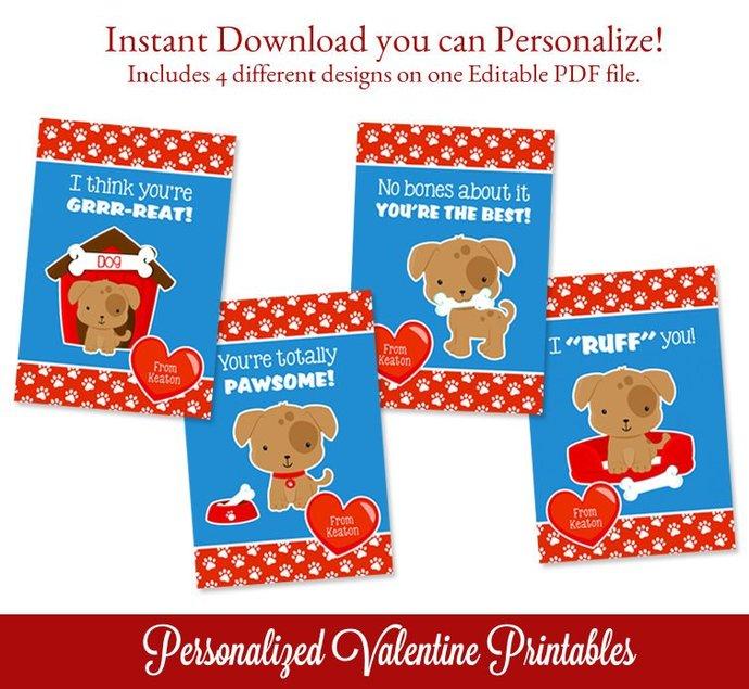 Puppy Valentines Printable, Puppy Editable Valentines Cards, Kids Valentines,