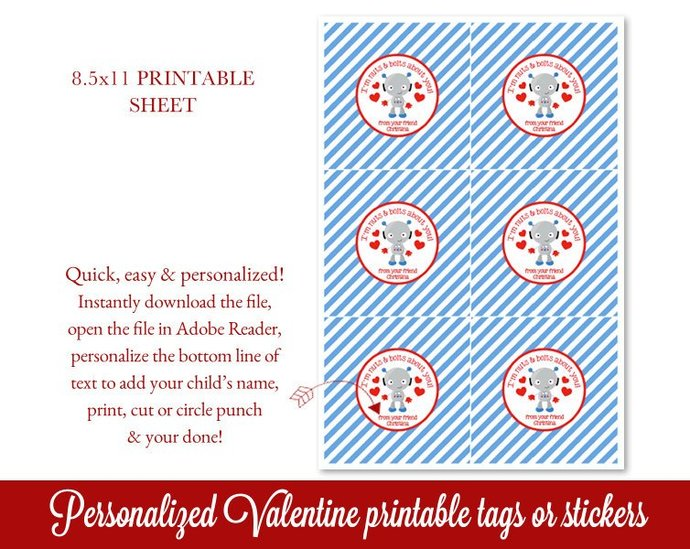 Valentines Tag, Robot Valentine's Day Tags, Personalized Valentines Stickers,
