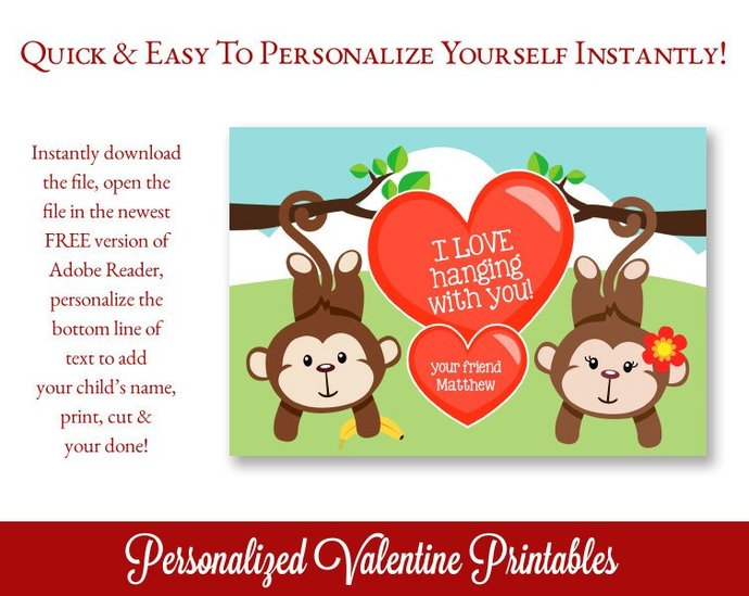 Class Valentines, Animal Valentines, Cute Valentines, Printable Valentines for