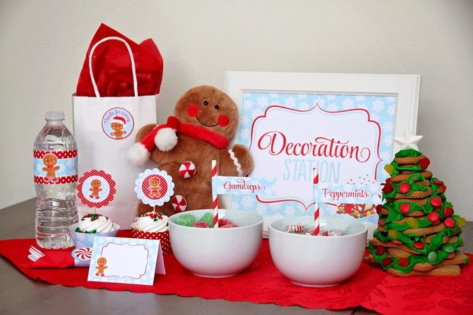 Gingerbread Party Printable Mini Set, Gingerbread Decorating Party, Kids
