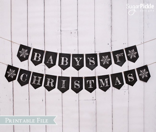 Baby's First Christmas Bunting, Chalkboard Christmas Banner, PRINTABLE BANNER,