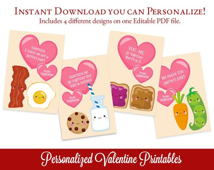 Class Valentines Cards, Perfect Pair Valentines, Class Valentines, Editable