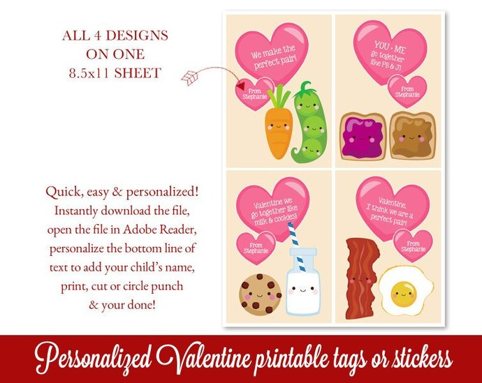 Valentines Cards Printable, Class Valentines, Perfect Pair Valentines, Editable