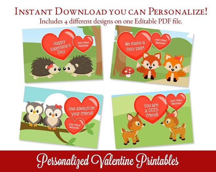 Woodland Printable Valentines Kids By Sugarpickle Designs On Zibbet
