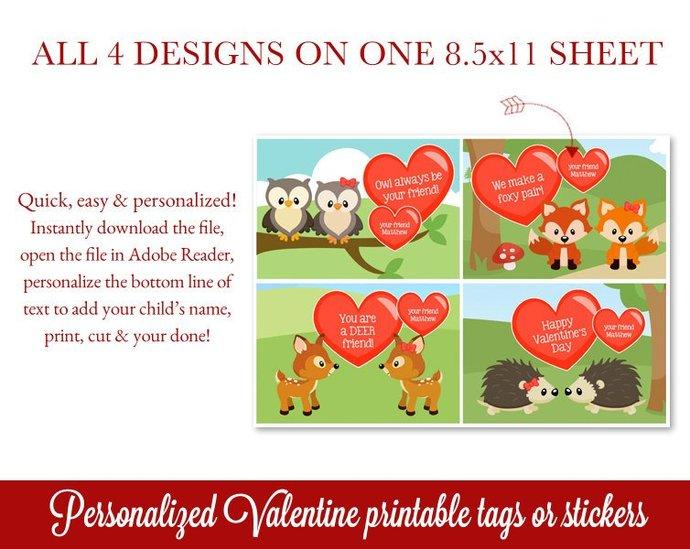 Woodland Printable Valentines, Kids Valentines Day Cards, Class Valentines,