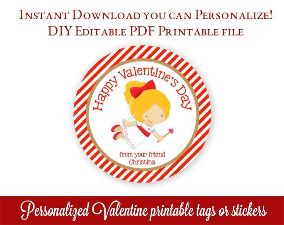 picture regarding Printable Valentine Tags referred to as Printable Valentines Tags, Cupid Valentines Working day Tags, Custom made Valentines Stickers, Cl Valentines, Editable PDF with Adobe Reader