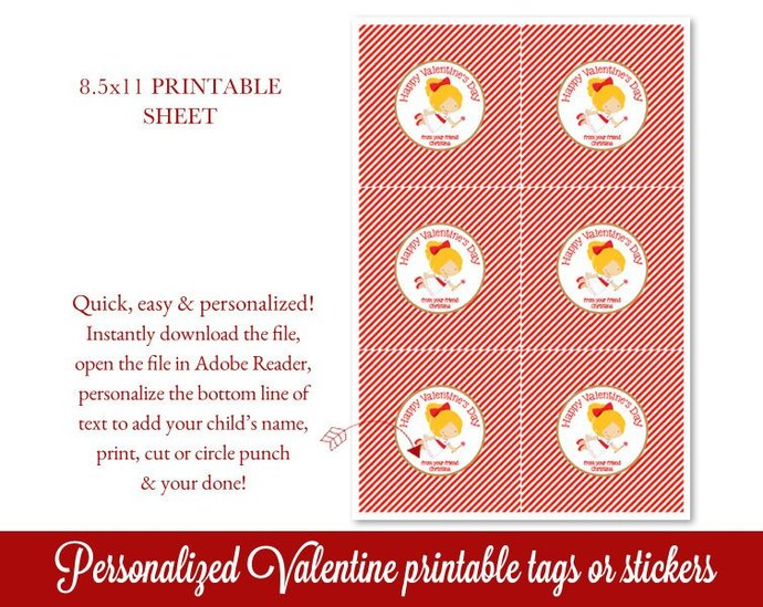 Printable Valentines Tags, Cupid Valentine's Day Tags, Personalized Valentines
