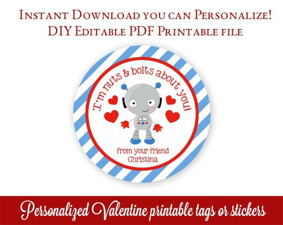 Printable Valentines Tags, Robot Valentine's Day Tags, Personalized Valentines