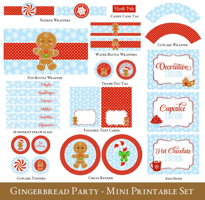 Gingerbread Decorating Party Printable Mini Set, Gingerbread Party, Kids