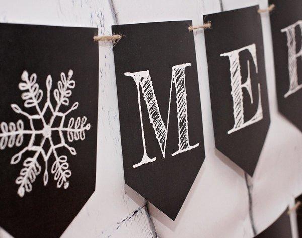 Merry Christmas Banner, Chalkboard Christmas Banner, Christmas Bunting,