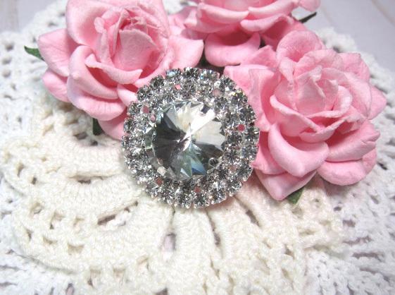 "XL Bling Rhinestone Button Embellishment - 1 7/8"" Clear"