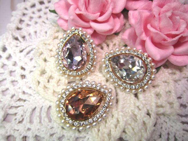 "Bling Pearl Rhinestone Tear Drop Button Embellishment - 1 1/8"" Clear, Pink,"