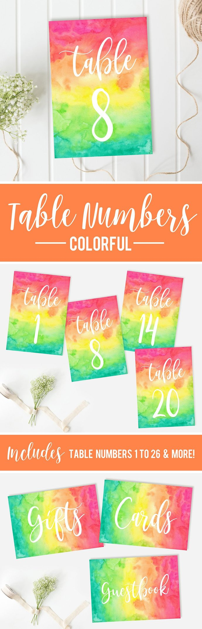 Colorful Table Numbers, Multi color Table Numbers, Wedding Table Numbers, DIY