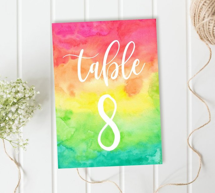 Incredible Colorful Table Numbers Multi Color Table Numbers Wedding Table Numbers Diy Wedding Printable Table Numbers Party Table Numbers Download Free Architecture Designs Embacsunscenecom