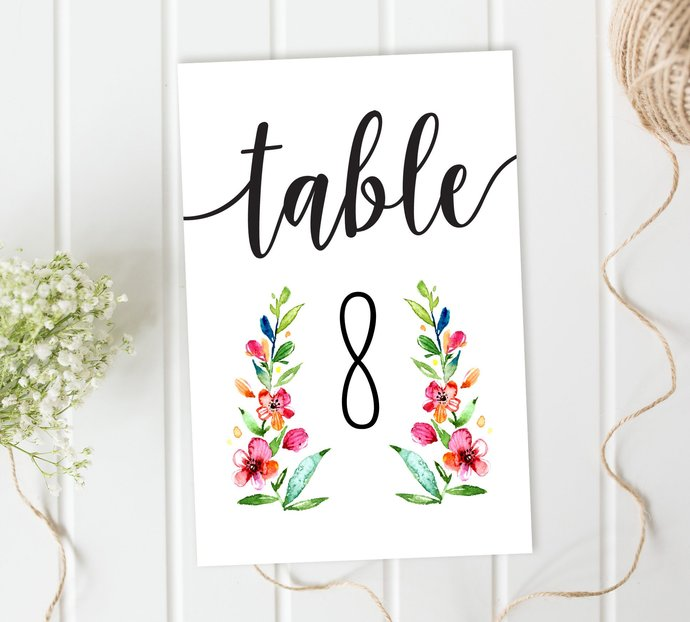 Wedding Table Numbers, Floral Table Numbers, Reception Table Numbers, DIY