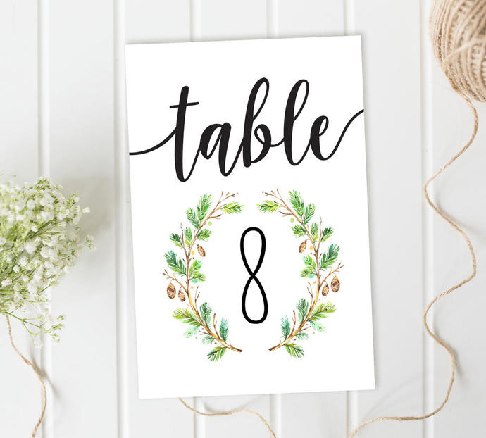 Wedding Table Numbers, Forest Table Numbers Cards, Reception Table Numbers, DIY
