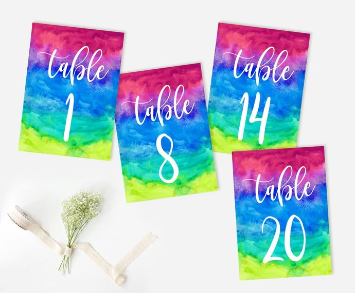 Wedding Table Numbers, Multi color Table Numbers, Reception Rainbow Table