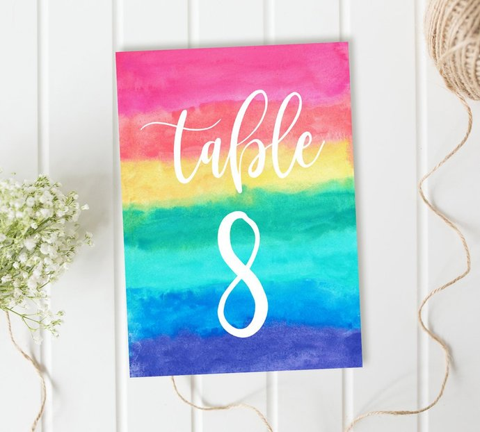 Rainbow Table Numbers, Multi color Table Numbers, Reception Table Numbers, DIY