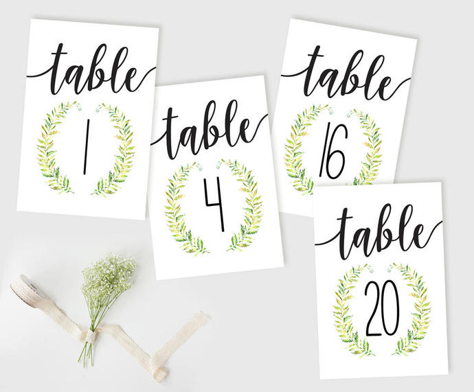 Table Number Cards, Wreath Table Numbers, Wedding Reception Table Numbers, DIY